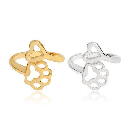 Women Metal Alloy Ring Dog Paw Heart Decoration Party Night Club Ring Jewelry - image 3 of 4