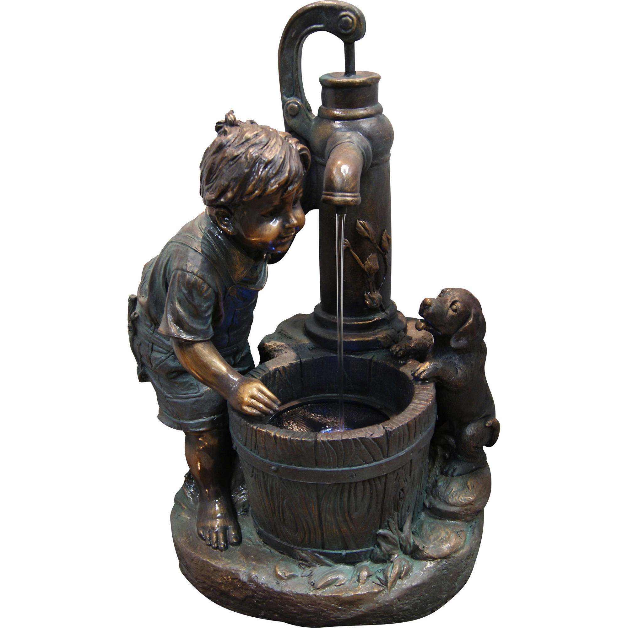 "26"" Boy and Water Pump Fountain with LED Light"