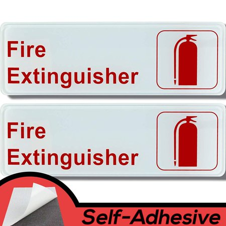 Easy Install 9 in x 3 in Fire Extinguisher Sign With Self-Adhesive Backing. 2 Pack of Durable Placards With Bright, Easily Visible Red And White Lettering To Help Keep People Safe. No Tools Necessary.](Name Placard)