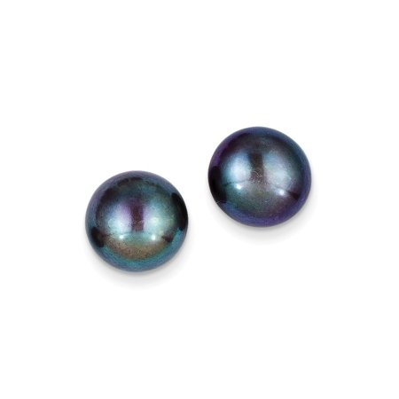 14k Yellow Gold 12mm Black Button Freshwater Cultured Pearl Stud Post Earrings Ball Gifts For Women For Her