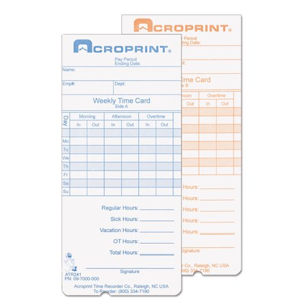 Acroprint Weekly Time Cards for ATR240 and ATR360, 250/Pack -ACP097000000