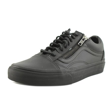 c09ac652e6c Vans - Vans Old Skool Zip Women Round Toe Leather Black Sneakers -  Walmart.com