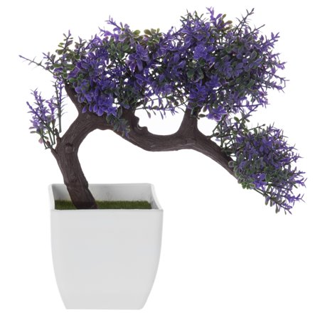 Artificial Purpele Blossom Bonsai Tree in White Planter Pot Add a splash of blossoming purple to your desk or counter space with this lovely bonsai tree. This potted plant is an artificial plant, making it the perfect care-free addition to any tabletop. Don't worry about maintaining this bonsai tree. With realistic branches, substrate, and blossoms, you get all of the pleasure of having a plant without any of the trouble. Give this treasure as a warm gift for a housewarming or wedding event, or keep it in your own home for its charm and elegance. **Official MyGift product.** Approximate Dimensions (in inches): 9.5 W X 9.75 H X 3.25 D.