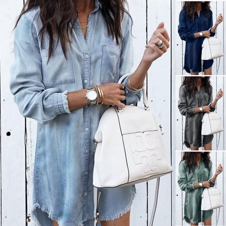 Women's Denim Long Sleeve Tassel Blouse Tops Mini Dress Ladies Casual T-Shirt Light Blue Size S - Casual Light Blue Dress