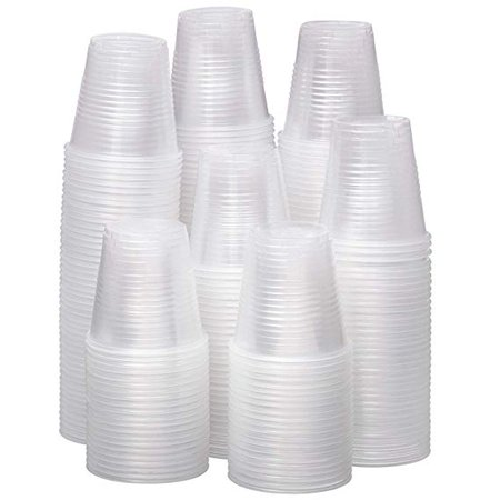 Disposable Plastic Cups (100-Count) Small, Clear 3 oz. Snack & Drink Size   Party, Event, Wedding, Kids   Recyclable Drinkware   Tea, Soda, Water, Juice, Milk (200) ()