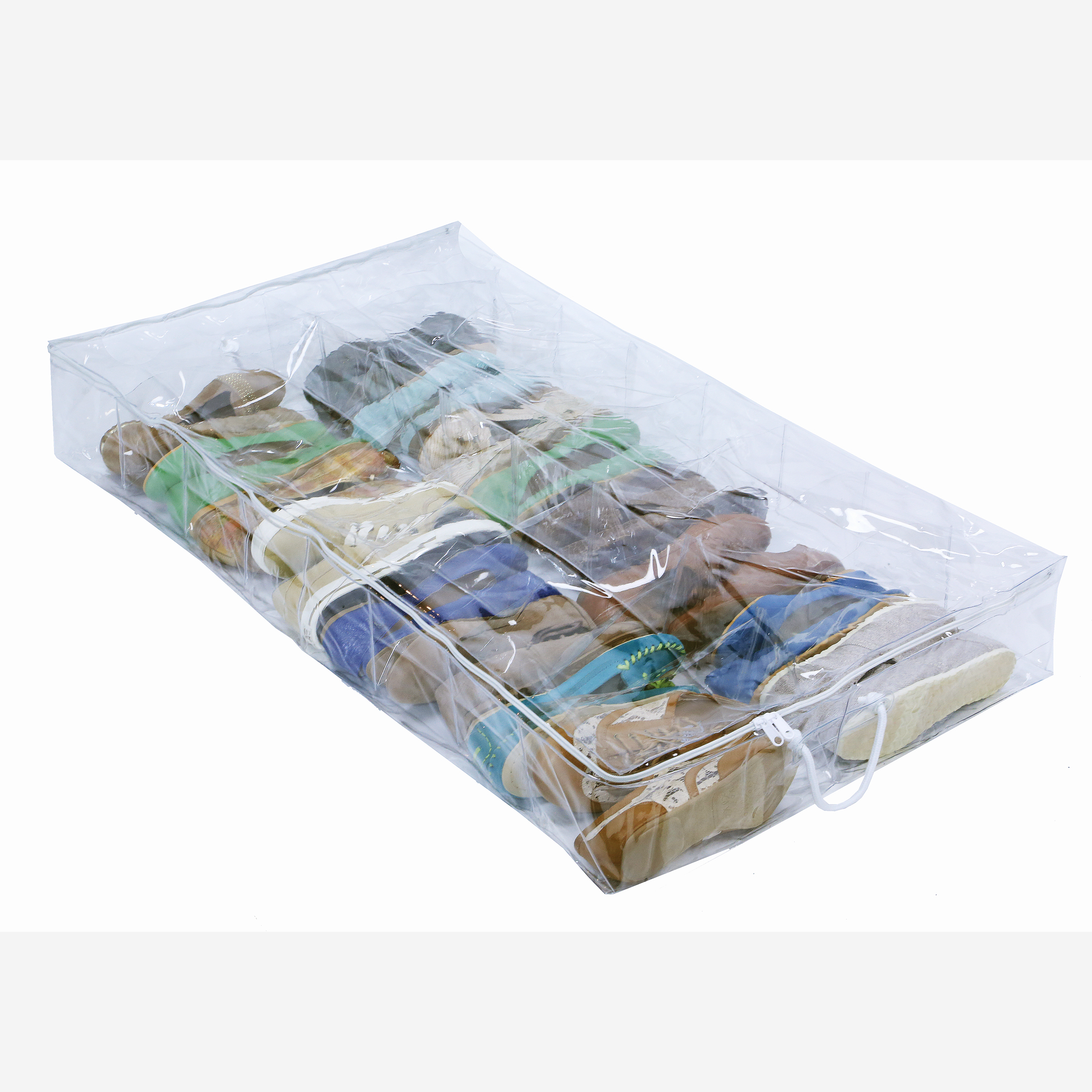 Richards Homewares Clear Vinyl Storage 16 Compartment Underbed Shoe Chest