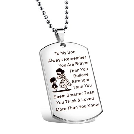 To My Son Jewelry Remember You Are Always Braver Than You Believe Hand Stamped Dog Tag Necklace (Believe Jewelry)