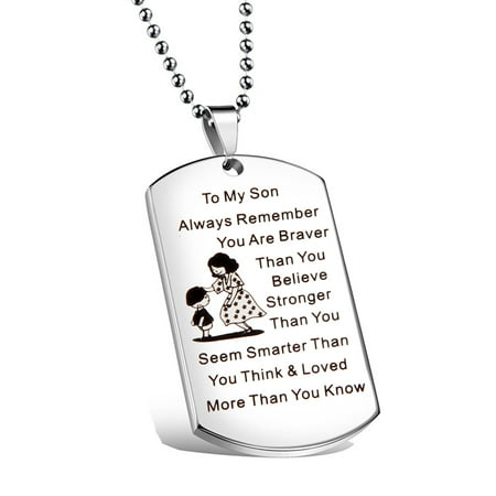 - To My Son Jewelry Remember You Are Always Braver Than You Believe Hand Stamped Dog Tag Necklace
