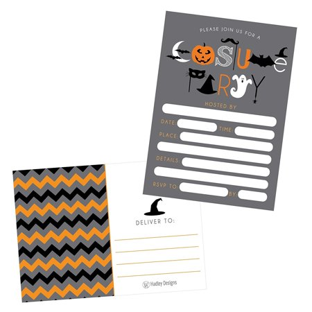 50 Halloween Costume Party Invitations, Kids or Adults Birthday Halloween Party Invites, Monster Trunk or Treat or Trick or Treat Party Invitation, Pumpkin (Children's Costume Party Invitation Wording)