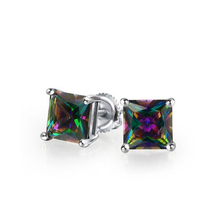 Mens Square Black Mystic Rainbow Princess Cut AAA CZ Stud Earrings For Women 925 Sterling Silver Screwback More Sizes