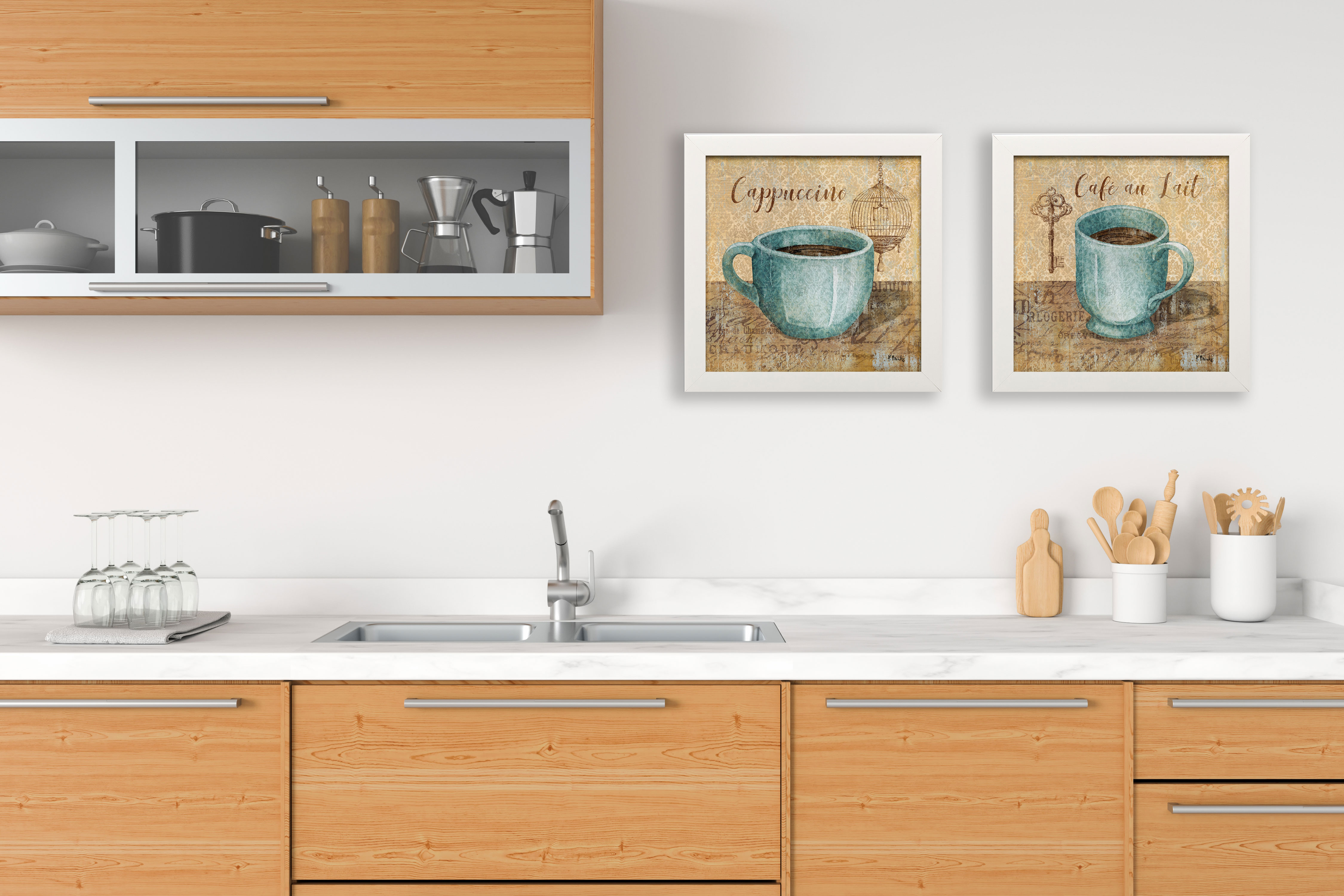 Ordinaire Gango Home Decor Popular Classic Coffee Key And Bird Cage Cafe Au Lait And  Cappuccino; Kitchen Wall Art By Paul Brent; Two Blue 12x12in Paper Prints  ...