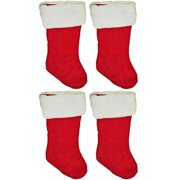"19"" Red Velvet Stocking (4 Pack) W/White Plush Cuff & Red Hanging Tag"