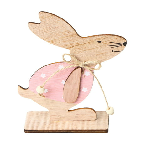 1PC Wooden Ornaments Rabbits Bunny Table Stand Tags With Easter Egg Ribbon DIY Wood Crafts for Home Decorations Easter Party Favors