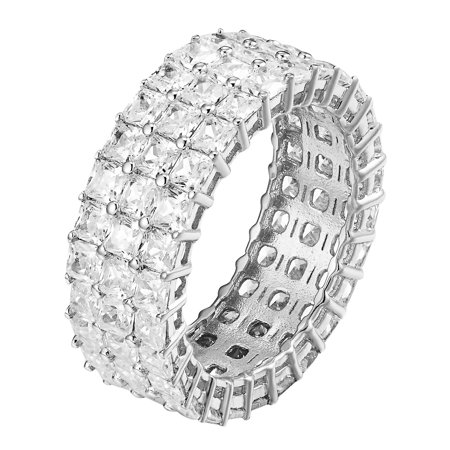 Womens .925 Sterling Silver Eternity Ring Princess Cut Simulated Diamond Bridal Band Princess Cut Diamond Ring Band