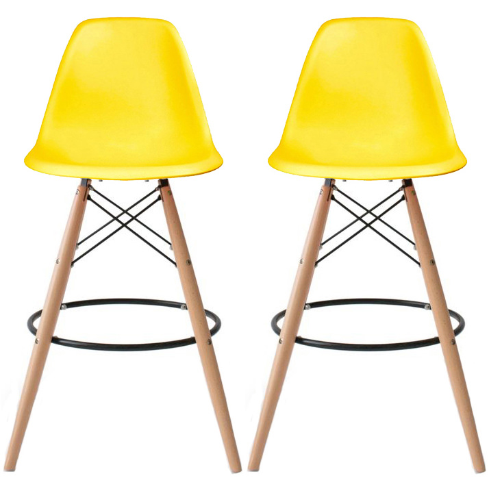 "2xHome - Set of 2 Modern 28"" Seat Height Plastic Bar Stool Counter Stools With Back Eiffel Chairs Natural Wood Legs Yellow"