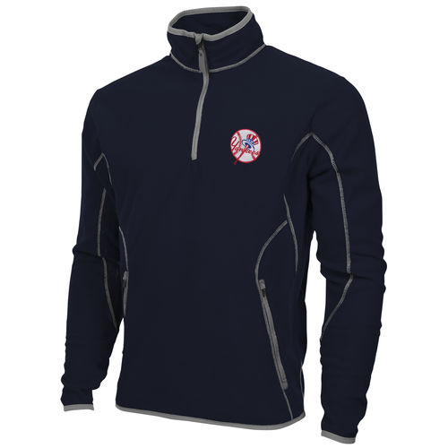 Antigua New York Yankees Quarter Zip Ice Polar Fleece Jacket Navy Blue by