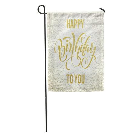 LADDKE Birthday Happy to You Lettering for Party Retro Gold Confetti Garden Flag Decorative Flag House Banner 28x40 - Retro Happy Birthday