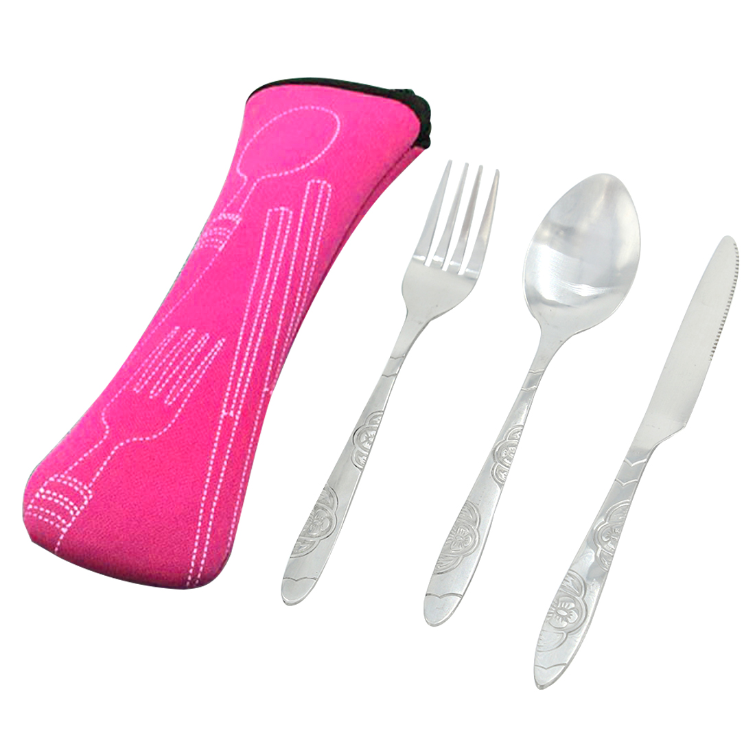 3Pcs Stainless Steel Portable Tableware Dinnerware Travel Camping Cutlery Set Patterned Fork Spoon Knife Set - Silver(Rosy Cloth Bag)