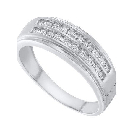 14kt White Gold Mens Round Diamond 2-row Wedding Anniversary Band Ring 1/4 Cttw Diamond Fine Jewelry Ideal Gifts For Mens Gift Set From Heart