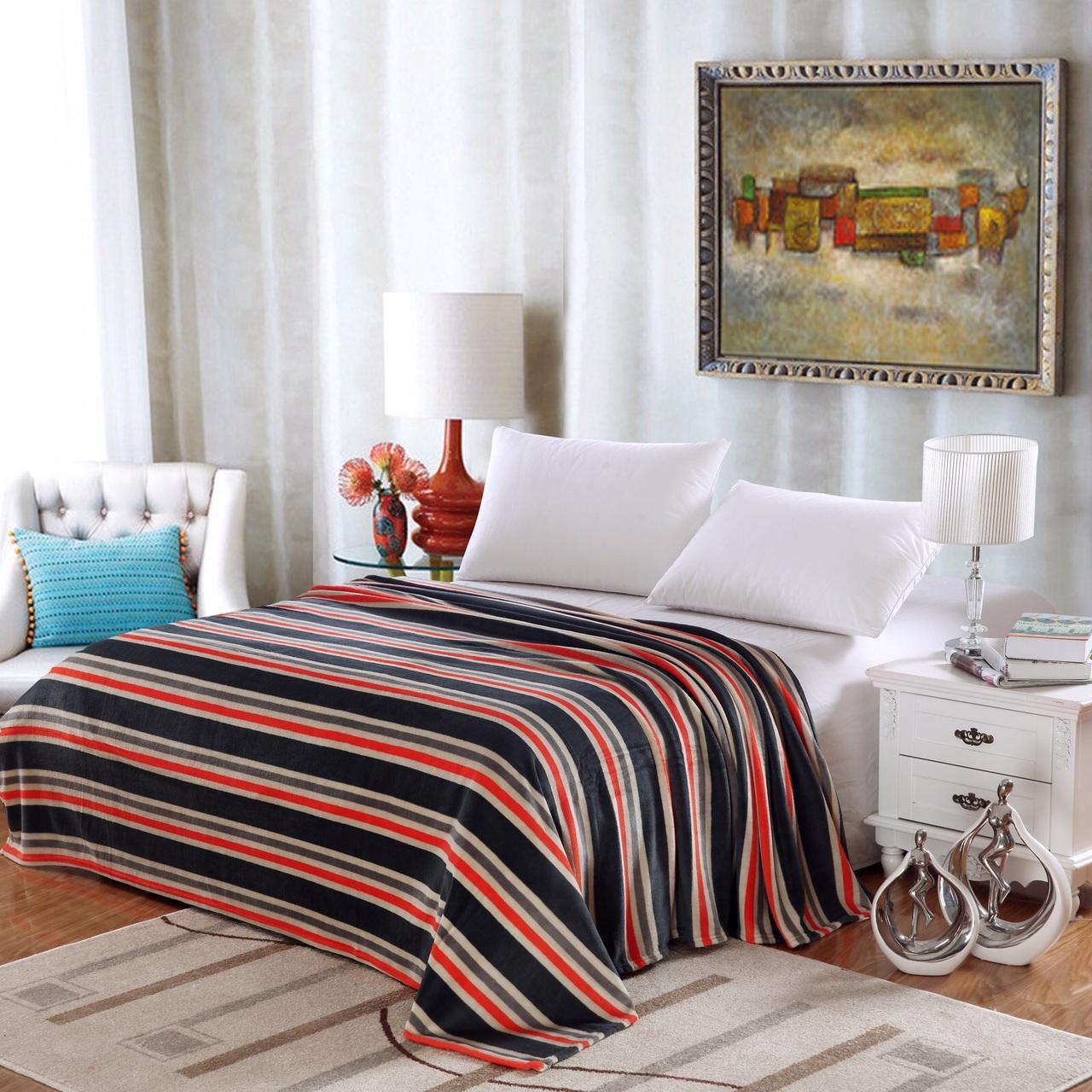 Lauren Striped Micro Fleece Jacquard Blanket, Bed Throw Blanket (Twin, Aqua) by Plazatex