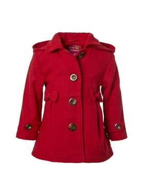 Pink Platinum Bow waist wool blend coat with hood (little girls & big girls)