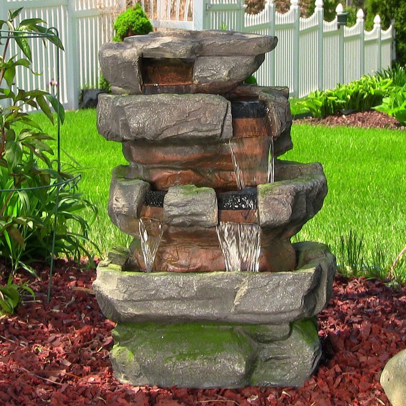 Sunnydaze Outdoor Electric Large Rock Quarry Waterfall Fountain with LED Lights, 31 Inch Tall, 819804016267