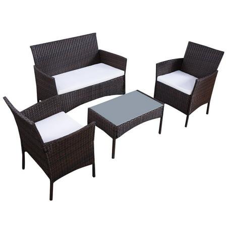 Topbuy 4 PCS Patio Rattan Furniture Set Wicker Chair Sofa Table W/Cushion Outdoor Garden