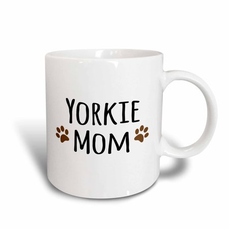 3dRose Yorkie Dog Mom - Yorkshire Terrier - Doggie by breed - doggy lover brown paw prints - mama pet owner, Ceramic Mug, 15-ounce