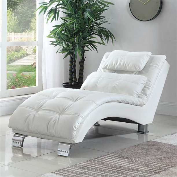 bowery hill faux leather tufted chaise lounge in white
