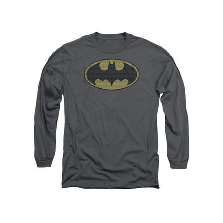 Batman DC Comics Little Logos Adult Long Sleeve T-Shirt Tee (Adult Batman Shirt)