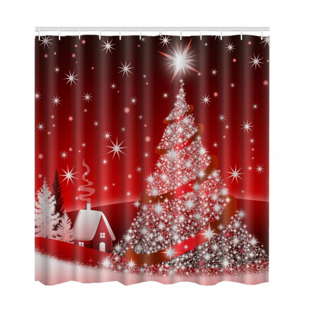 Christmas Shower Curtain Waterproof Home Bathroom Xmas Polyester With 12 Hooks