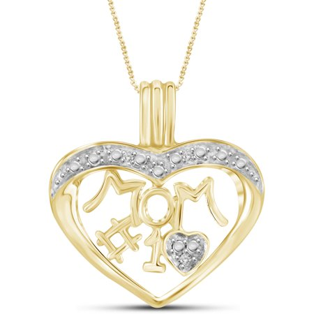 Jewelersclub White Diamond Accent 14Kt Gold Plated Mom Heart Pendant  18