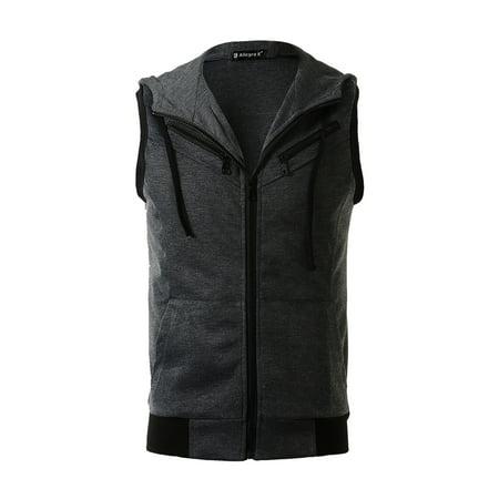 1411B M02 Men Kangaroo Pocket Zip Up Drawstring Hooded Vest - Red Hooded Cloak
