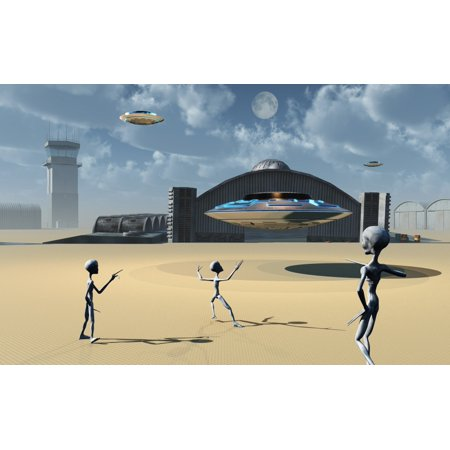 Grey Aliens And Their Flying Saucers At Area 51 Canvas Art   Mark Stevensonstocktrek Images  36 X 23