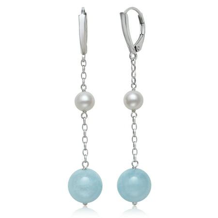 Milky Aquamarine and Cultured Freshwater Pearl Sterling Silver Drop Earrings Baroque Pearl Drop Earrings