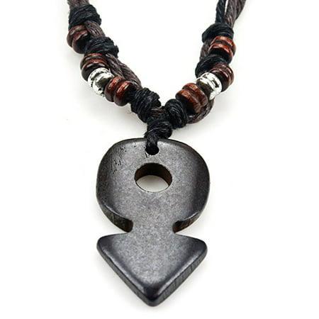 Fashion Jewelry Bone (Fashion Jewelry Tibetan Ox Bone carved arrow brown leather hemp cord necklace - adjustable length )