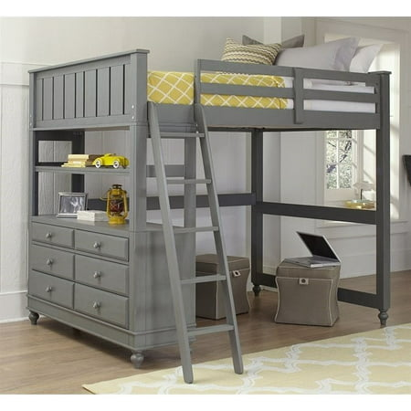 Ne Kids Lake House Full Loft Bed With Hanging Shelf In