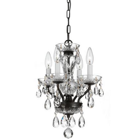 Chandeliers 4 Light With English Bronze Clear Swarovski Strass Steel 11 inch 240 Watts - World of Lighting