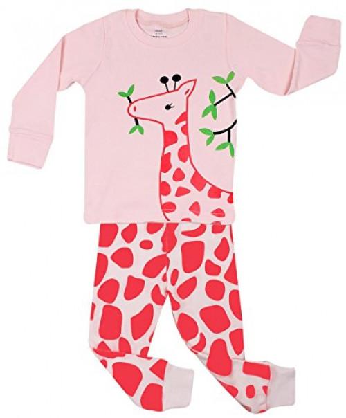 Elowel Kid's Giraffe Pajama Set, Pink, 18-24 Months