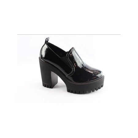 Liyu Adult Black Patent Elastic Chunky High Heel Platform Shoes](High Heel Shoes Kids)