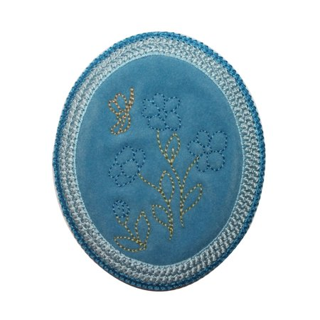 ID 6623 Blue Garden Flower Patch Felt Oval Spring Embroidered Iron On Applique](Felt Flower Crown)