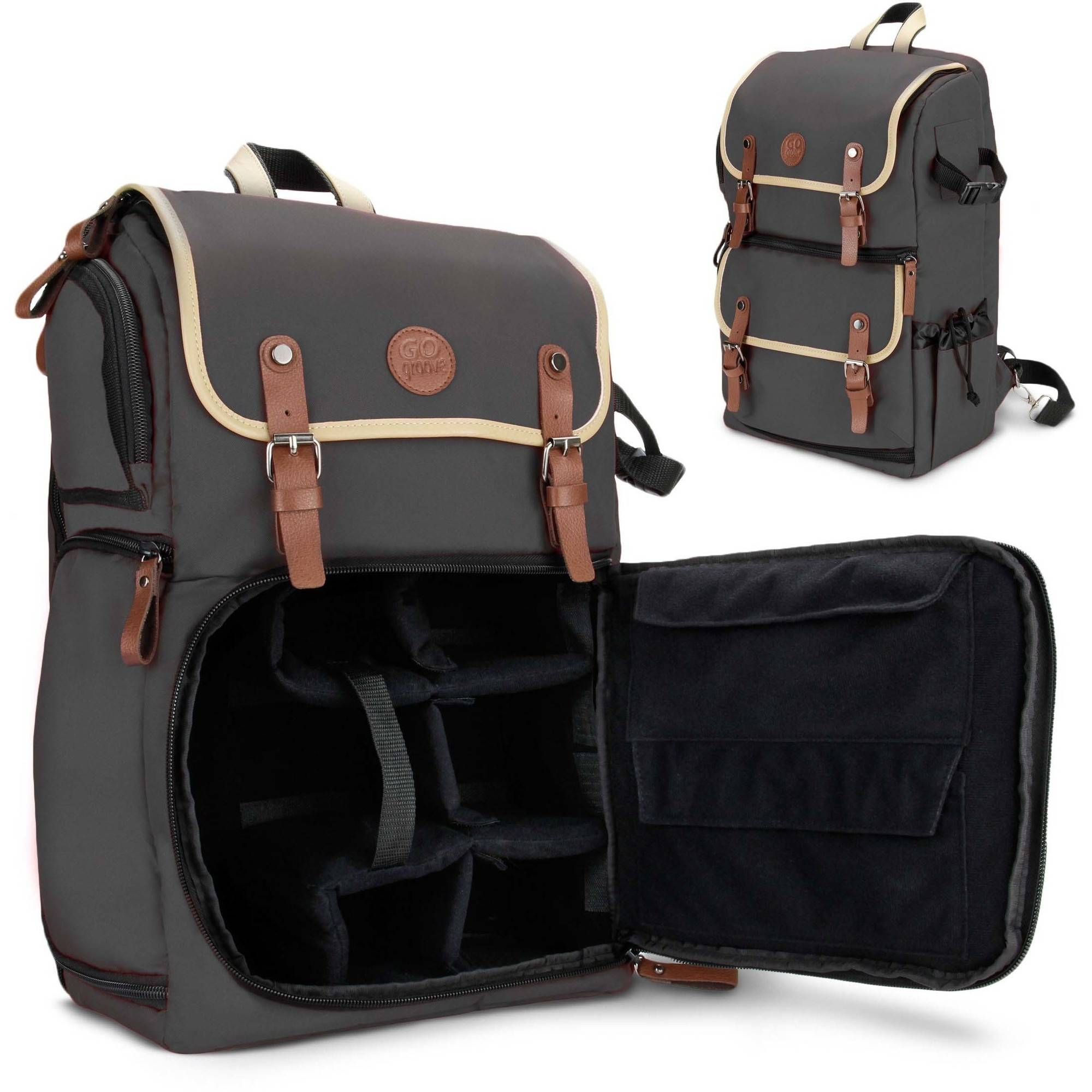 GOgroove Full-size DSLR Camera Backpack Case (Grey) for Photography and Laptop Travel Use with Accessory Storage , Tripod Holder & Weatherproof Rain Cover
