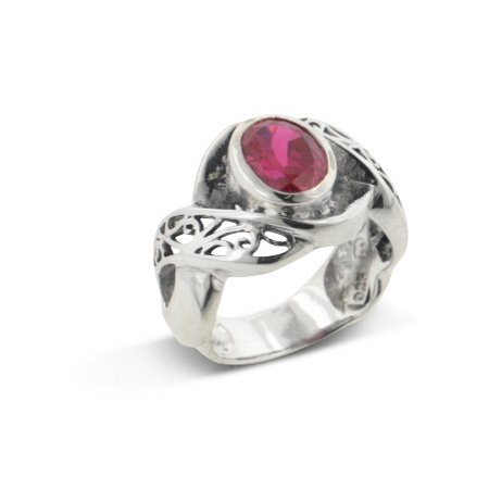 Large Synthetic Blood Red Ruby and Swirl Filigree Sterling Silver Ring Blood Red Ruby Gem