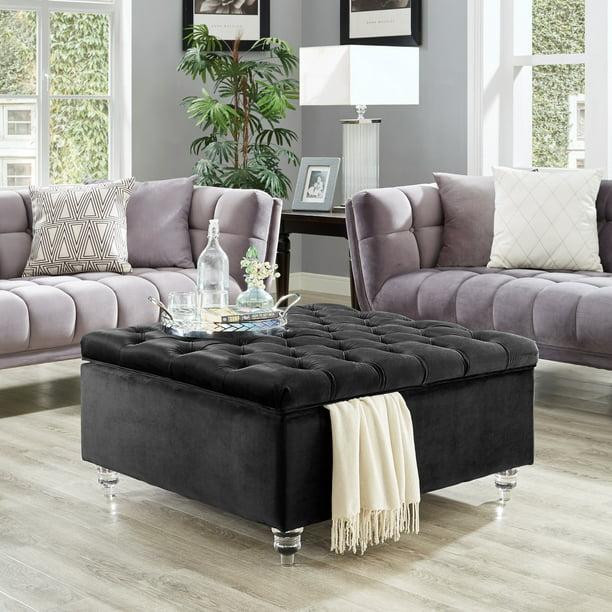 Inspired Home Clarissa Velvet Storage, Storage Ottoman Table Black
