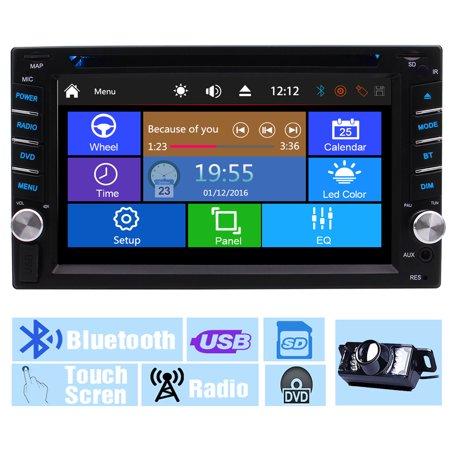 Backup Camera+EinCar Multi-Touch Screen Audio Autoradio Monitor 2 Din In Dash Video CD VCD Car DVD Player USB SD Radio Receiver Bluetooth Headunit Car Stereo 6.2 Inch logo win 8 UI Remote control Dash 8 Narrow Nose