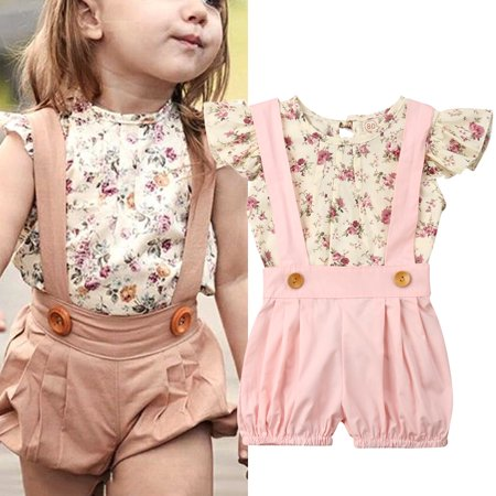Toddler Infant Kids Baby Girl Summer Clothes Floral Tops T-Shirt Bib Shorts Overalls Outfits -