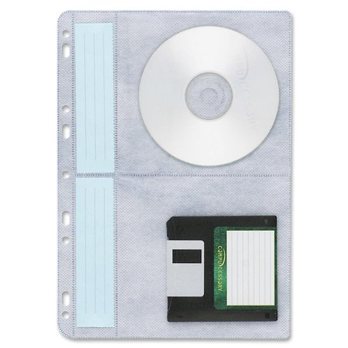 """Compucessory Cd/dvd Ring Binder Storage Page - 4 Cd/dvd Capacity - Letter 8.50"""" X 11"""" - Polypropylene - 10 / Pack - White (CCS22287)"""