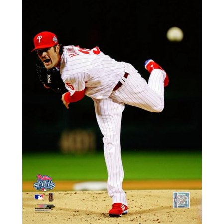 Cole Hamels  35 Of The Philadelphia Phillies Throws A Pitch Against The Tampa Bay Rays During Game 5 Of The 2008 Mlb World Series At Citizens Bank Park October 27 2008 Photo Print