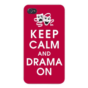 Apple Iphone Custom Case 4 4s White Plastic Snap on - Keep Calm and Drama On w/ Theater Masks