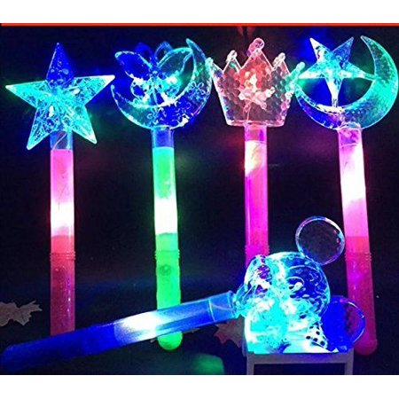 4 Fairy tale Princess Toy Costume LED Glow in the Dark Princess Star Moon Wand